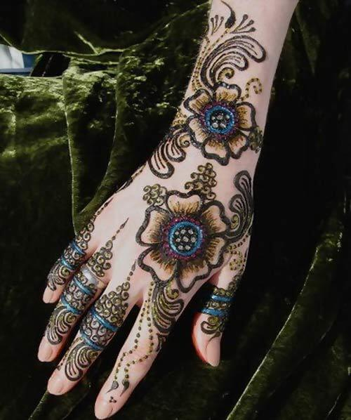 Glittered Mehndi Design